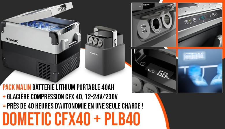 Pack Dometic : glacière CFX 40 + batterie lithium PLB 40